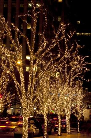 Decoraci�n de �rboles iluminados por la noche en Manhattan en Navidad Foto de archivo