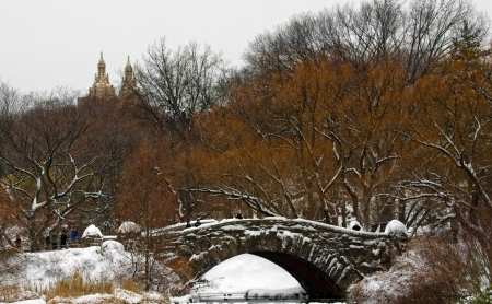Central Park in winter. Gapstow Bridge. Stock Photo