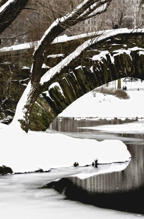 Central Park. Gapstow Bridge covered with snow photo