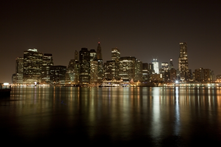 Manhattan skyline at Night Lights Stock Photo