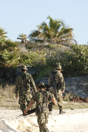 Mexican soldiers are checking coastline of boarder  photo