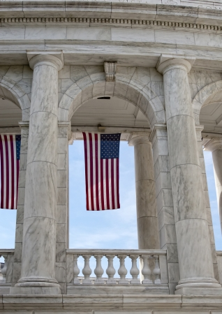 u s  flag: U S  flag hanging in Amphitheater at Arlington National Cemetery