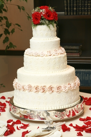 Wedding cake ready to eat photo