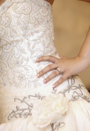 a beautiful traditional white wedding dress detail  Stock Photo