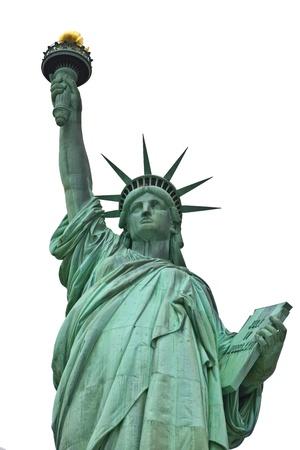 Estatua de la Libertad con un fondo de cielo azul. Foto de archivo