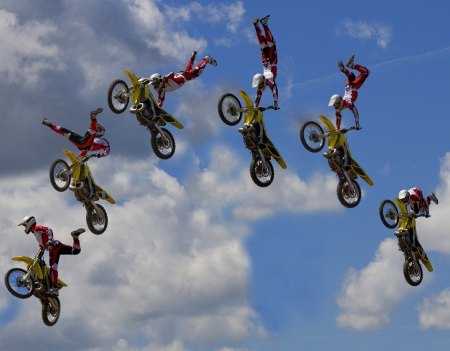 Stunt Biker. Free stile performing
