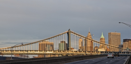 New York - Brooklyn Bridge and Lower Manhattan photo