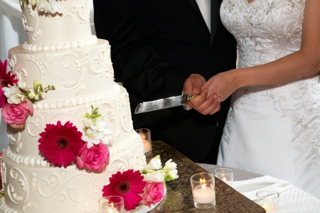 Bride and groom cut their wedding cake together. Focus is on the wedding cake.