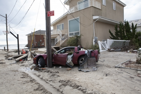 NEW YORK - November 1: Crashed cars after Hurricane Sandy  in the Far Rockaway area  on October 30, 2012 in New York City, NY