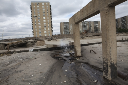 NEW YORK - November 1: Large section of the iconic boardwalk was washed away during Hurricane Sandy in Far Rockaway area October 29, 2012 in New York City, NY