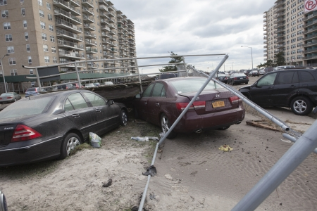 hurricane sandy: NEW YORK - November 1: Crashed cars after Hurricane Sandy  in the Far Rockaway area  on October 30, 2012 in New York City, NY