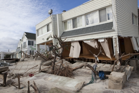 NEW YORK - October 31:Destroyed homes in  Far Rockaway after Hurricane Sandy October 29, 2012 in New York City, NY Stock Photo - 16347822