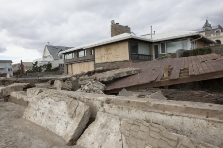 NEW YORK - October 31:Destroyed homes in  Far Rockaway after Hurricane Sandy October 29, 2012 in New York City, NY photo