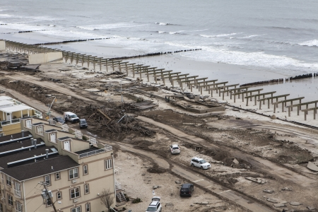 NEW YORK - November 1: Aftermath hurricane Sandy : panoramic view in Far Rockaway area   October 29, 2012 in New York City, NY Stock Photo - 17326005