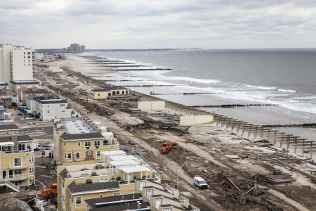 NUEVA YORK - 1 de noviembre: Consecuencias del hurac�n de arena: Vista panor�mica del �rea Far Rockaway 29 de octubre 2012 en Nueva York, Nueva York