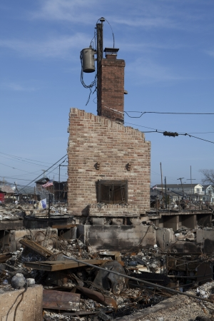 breezy: NEW YORK -November12: The fire destroyed around 100 houses during Hurricane Sandy in the flooded neighborhood at Breezy Point in Far Rockaway area  on October 29; 2012 in New York City; NY