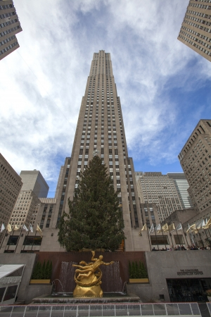 NEW YORK CITY - DEC. 5: Rockefeller Center in New York City-historic landmark, on Dec. 5, 2012. Rockefeller Center skating and Christmas tree is holiday tradition in NYC.
