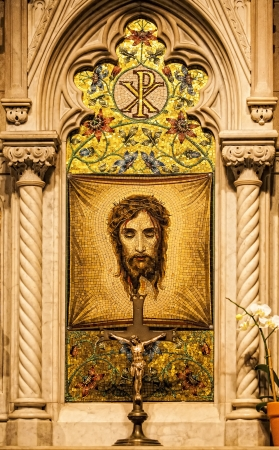 catholism: Mosaic of Veronicas Veil in Saint Patricks Cathedral. New York.