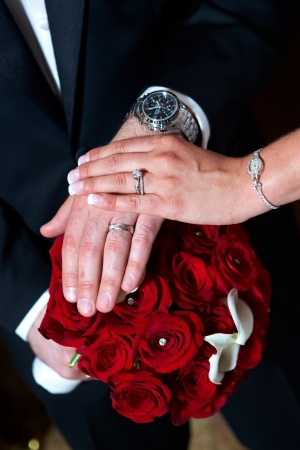 just: Just Married. Bride and Groom Wedding Rings Stock Photo