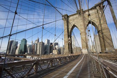 pedestrian bridge: Brooklyn Bridge in New York Stock Photo