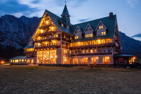 meadowland: Night scene of the  historic Prince of Wales Hotel in Waterton lakes National park, Alberta, Canada Editorial