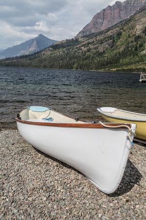 teton: Canoes  at Colter Bay in the Grand Teton National Park.