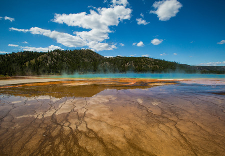 midway: Grand Prismatic Spring, Midway Geyser Basin, Yellowstone National Park Stock Photo
