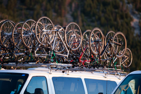 Bicycles mounted to the roof