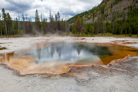 hydrology: Emerald Pool in Yellowstone National Park Stock Photo