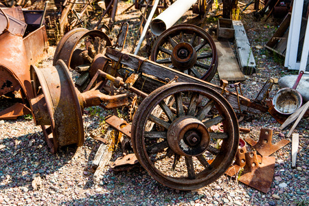 oldie: Kalispell - August 2:  Old cars and trucks in the  junk yards August 2, 2015 at Kalispel, MT.