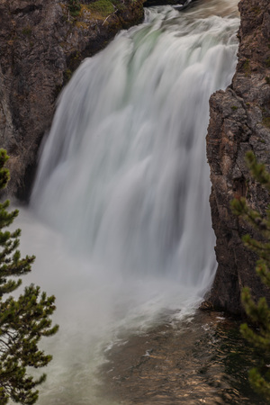 lower yellowstone falls: The Lower Falls at the Grand Canyon of the Yellowstone Stock Photo