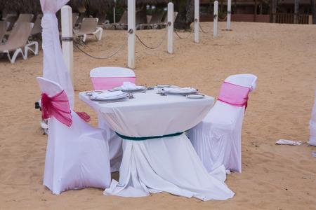 Detail of wedding gazebo on a tropical sand beach