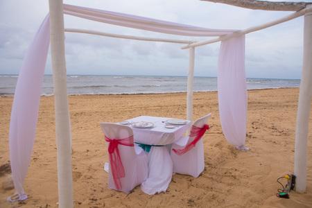 gazebo: Detail of wedding gazebo on a tropical sand beach