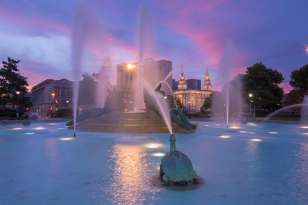 PHILADELPHIA, USA - July 2, 2016: Swann Memorial Fountain With City of Philadelphia  As of 2016 Philadelphia is the 5th most populous city in the US with 1,547,607 citizens Editorial