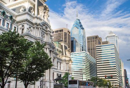 PHILADELPHIA - Sept 1, 2016: Cityscape with street and Downtown Skyline of Philadelphia, Pennsylvania, USA