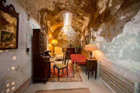 september 2: PHILADELPHIA, PENNSYLVANIA - September 2: Al Capones cell at the Eastern State Penitentiary (1829) on Fairmount Avenue on September 2, 2015 in Philadelphia, Pennsylvania Editorial