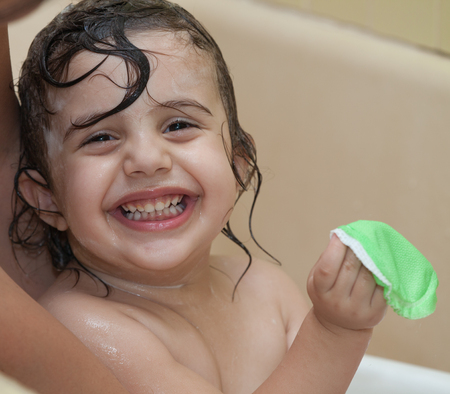 Happy Laughing Baby Taking A Bath. Stock Photo, Picture And Royalty ...