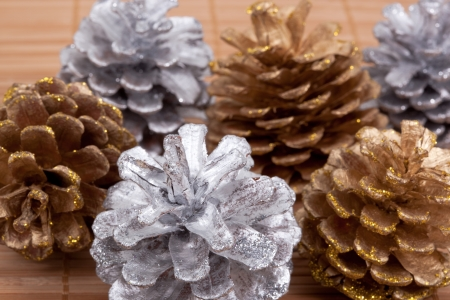 straw mat: Pine cones on a straw mat