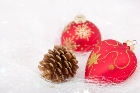 pine cone: Pine cone with Christmas decorations  Stock Photo