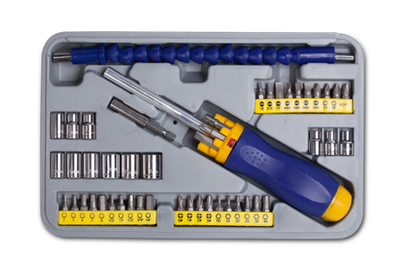 Socket wrench toolbox on white background photo