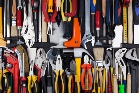 Background made of miscellaneous work tools