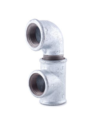 zinked: Galvanized equal tee with a galvanized elbow Isolated on white . Stock Photo