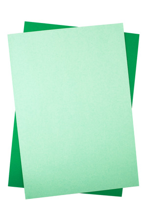 missive: Two green rectangular sheets of textured paper.