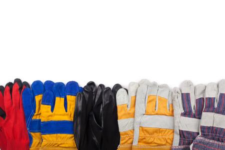 Protective work gloves on white. Foto de archivo - 123658424