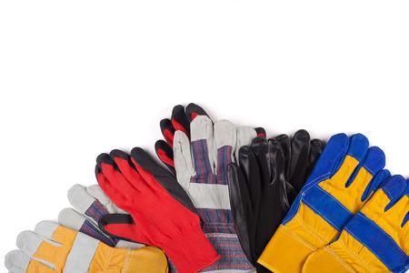 Protective work gloves on white. Foto de archivo - 123658428