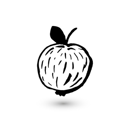 smears: The apple, drawn with ink strokes. The fruit of smears, lines, strokes