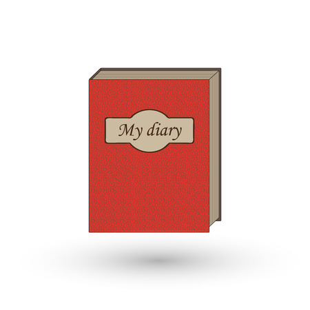 diary book: The book is my diary. Book, notebook, red book Illustration