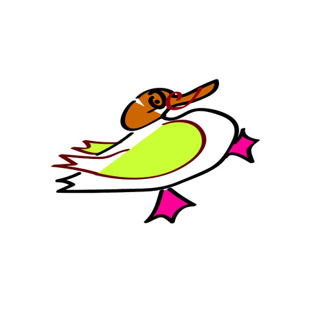 Funny duckling character baby picture handmade vector illustration
