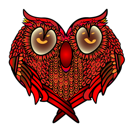 Greeting card with heart settled a cute owl in love, for love and closeness.