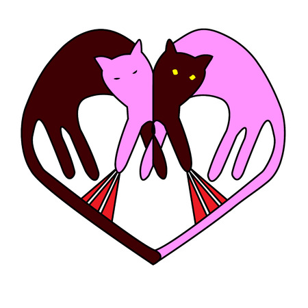 Heart vector. The symbol of spring cat fights. Cats are funny animals. Print.